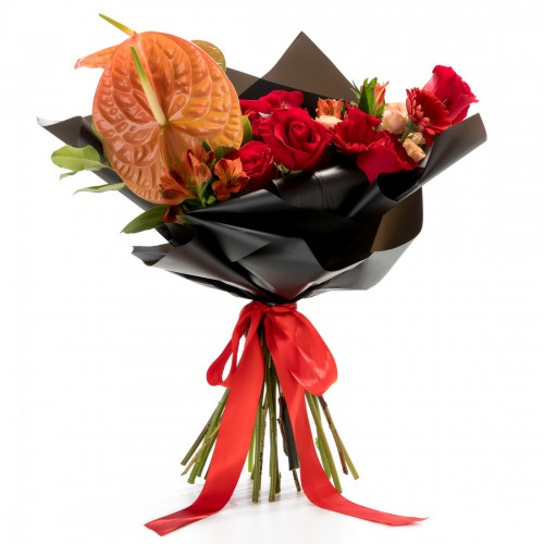 Buchet de flori anthurium si minorosa