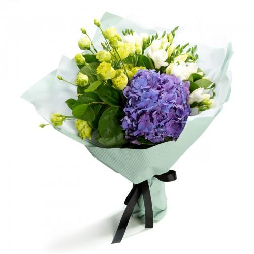 Buchet lisianthus si hortensie