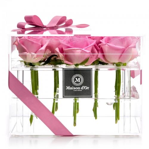 Cutie acrilica 15 trandafiri roz