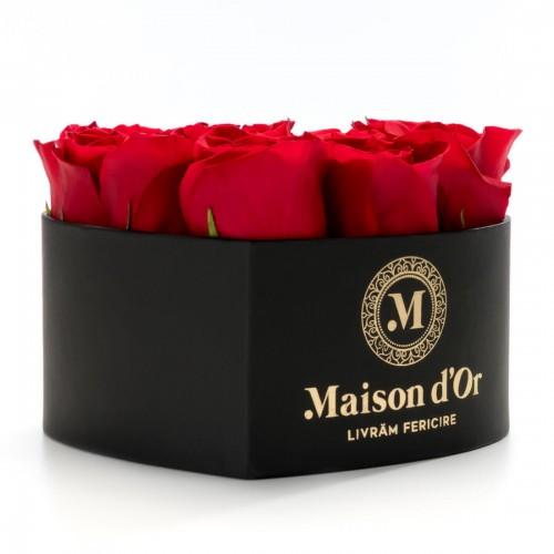 Cutie inima neagra 9 trandafiri rosii