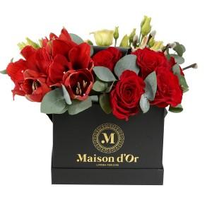 Cutie cu Amaryllis si trandafiri rosii