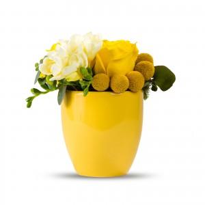 Aranjament floral craspedia si trandafiri