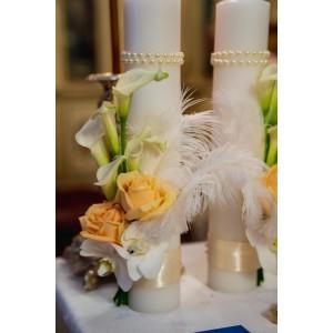 Lumanare botez trandafiri si orhidee
