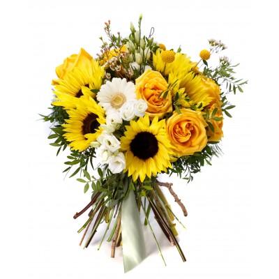 Buchet floarea soarelui si trandafiri galbeni
