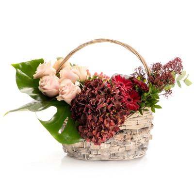 Aranjament floral in cos cu hortensie si germini grena