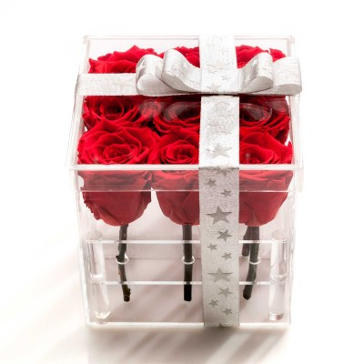 Cutie acrilica 9 trandafiri criogenati rosii