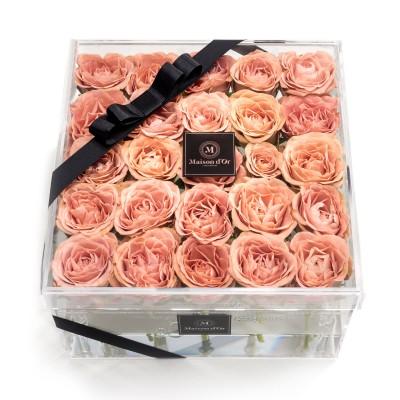 Cutie acrilica 25 trandafiri cappuccino