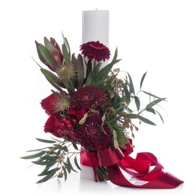 Lumanare botez trandafiri rosii si hypericum