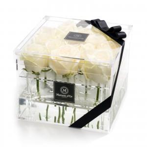 Cutie acrilica 15 trandafiri albi