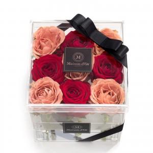 Cutie acrilica 9 trandafiri rosii si cappuccino
