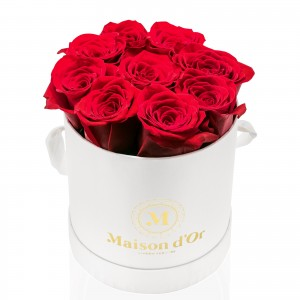 Cutie alba 9 trandafiri rosii