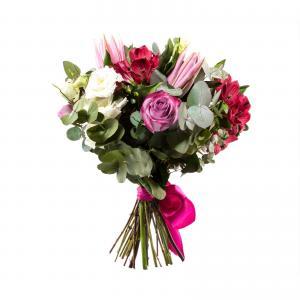 Buchet Trandafiri Mov si Crin Roz