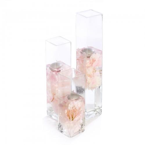 Aranjament floral de nunta din hortensie, lumanari
