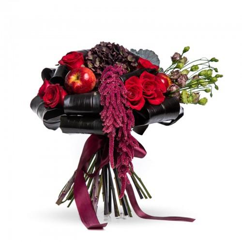 Buchet de toamna cu trandafiri si amaranthus