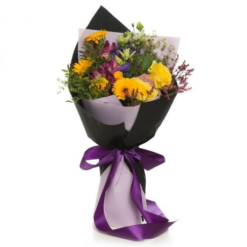 Buchet de flori alstroemeria si germini galben