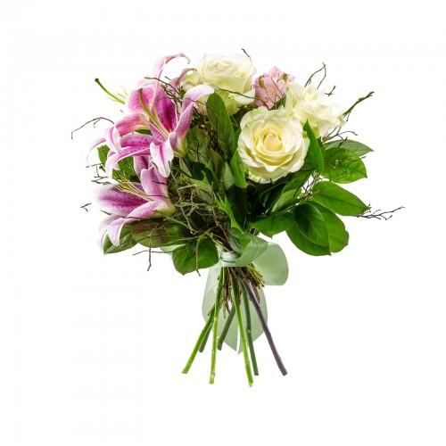 Buchet Trandafiri cu Crin Roz