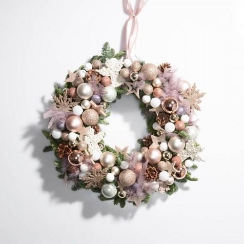 Coronita de Craciun cu globulete albe si roz