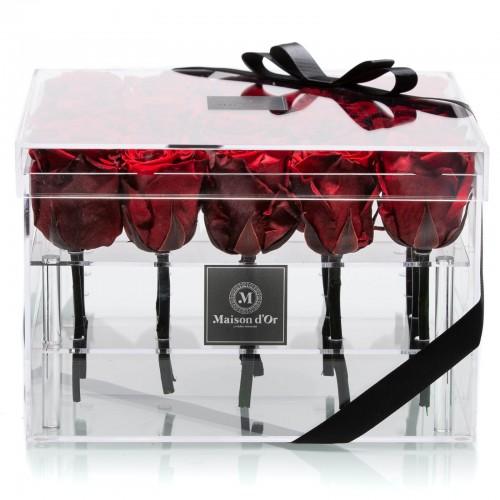 Cutie acrilica 25 trandafiri criogenati
