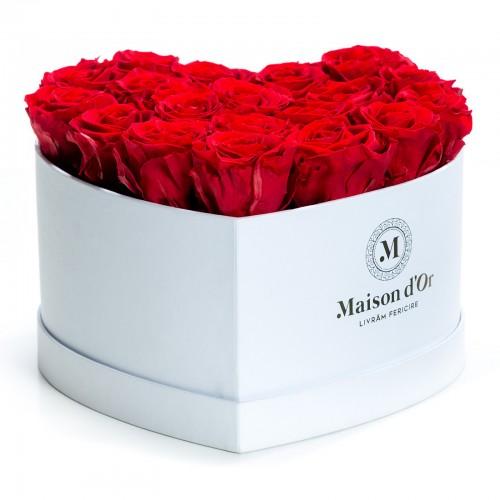 Cutie inima 21 trandafiri criogenati rosii