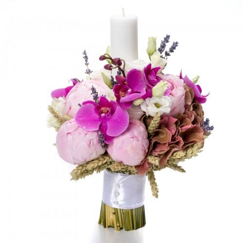Lumanare botez orhidee si hortensie