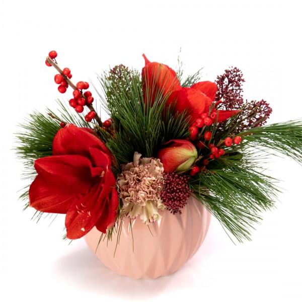Aranjament floral cu amaryllis rosu si ilex