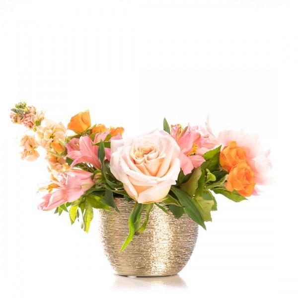 Aranjament floral cu bujor si alstroemeria Beauvais