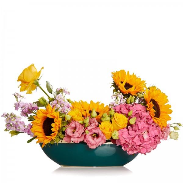 Aranjament floral cu floarea soarelui