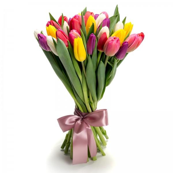 Buchet de flori cu 35 lalele muticolore