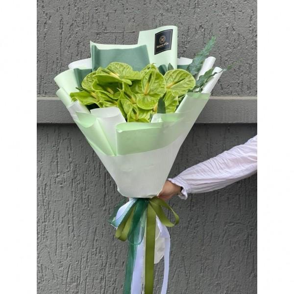 Buchet de flori cu 15 anthurium