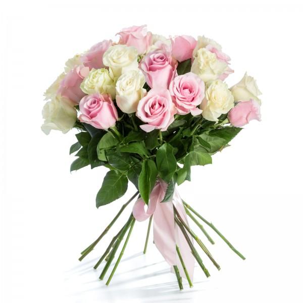 Buchet 21 Trandafiri Roz si Albi