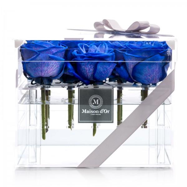 Cutie acrilica 15 trandafiri albastri