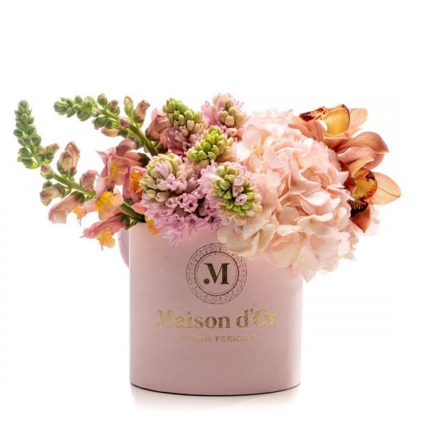 Cutie roz cu flori Clarissa
