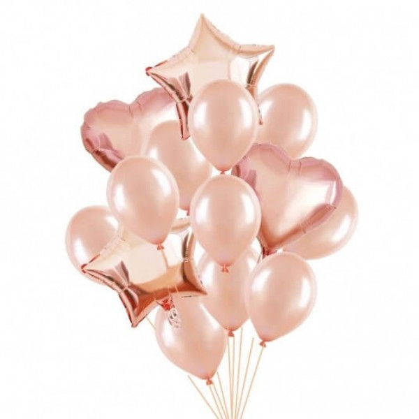 Set baloane rose cu heliu