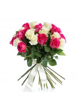 Buchet 29 Trandafiri Albi si Ciclamen