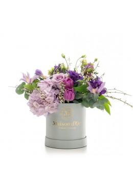 Cutie gri cu flori Valeria