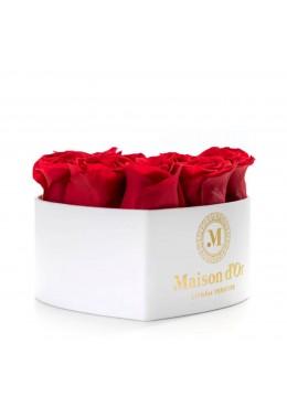 Cutie inima alba 9 trandafiri rosii