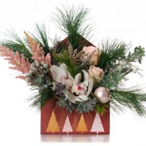 Aranjament floral in plic de Craciun cu cymbidium si astilbe