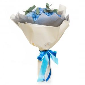 Buchet de flori 3 hortensii albastre