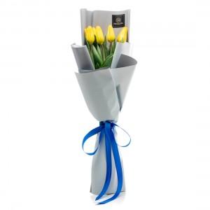 Buchet de flori cu 9 lalele galbene