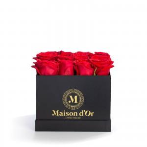Cutie neagra 17 trandafiri rosii
