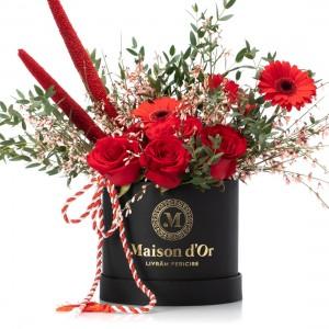 Cutie cu germini, trandafiri rosii si genista - 1-8 Martie