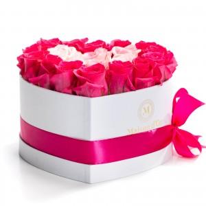 Cutie inima 21 trandafiri roz