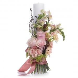 Lumanari Cununie Scurte Trandafiri roz