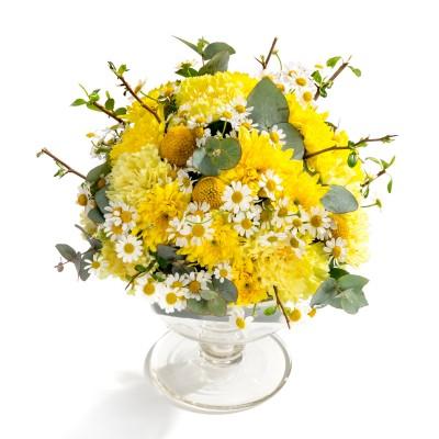 Aranjament floral de nunta din crizanteme, garoafe