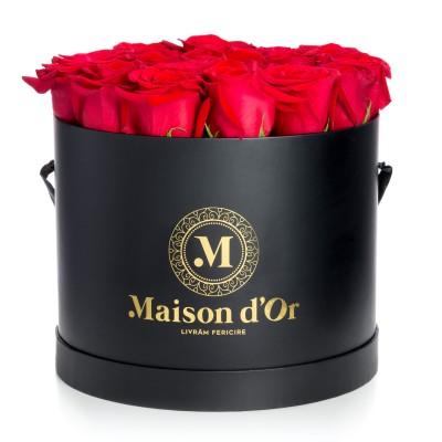 Cutie Neagra 25 Trandafiri Rosii