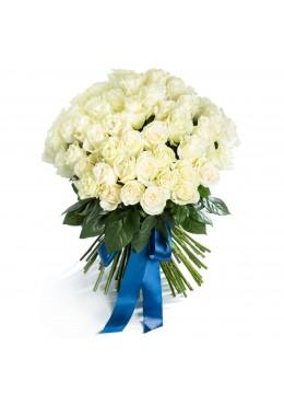 Buchet 75 trandafiri albi