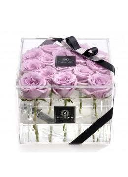Cutie acrilica 15 trandafiri mov
