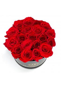 Cutie neagra 21 trandafiri rosii