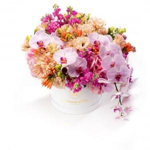 Cutie cu hortensie. lisianthus si orhidee