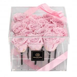 Cutie acrilica 15 trandafiri criogenati roz